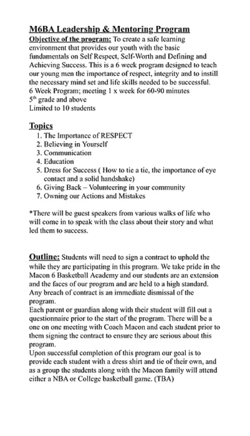 M6BA Mentoring Program